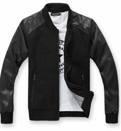 Wholesale 2013 new monde Casual Men s Jacket Wool Leather Splice mens coats Collar men s Woolen jacket black