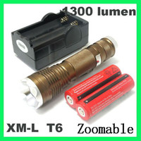 Wholesale High quality Lumen Zoomable CREE XM L T6 LED Flashlight Torch Zoom Lamp Light free shippi