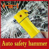 Wholesale 4 in Car Auto LED Flashlight Belt Cutter Safety Hammer Escape Emergency Tools Retail