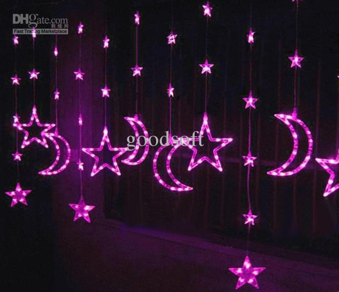Star Moon String Lights : Pink Moon Star Curtain Light Strings Led Light String Garden Decorative Lights Purple Led String ...