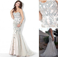 Wholesale 2012 Sexy Strapless Prom Dresses Mermaid Sequins Ivory Summer Beaded Evening Dresses Jov