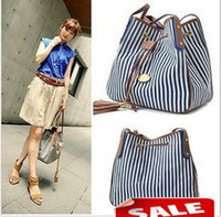 Wholesale Women s Stripe Canvas Fabric Shoulder bag Drawstring Bags Handbag Purse Satchel Christmas gift