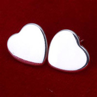 Wholesale factory sell hot new Silver fashion charm Novel smooth heart stud girl earring jewelry E10