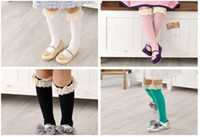 Wholesale mm baby girl socks kids Stockings classic knee BOOT high socks with lace solid color cotton colors