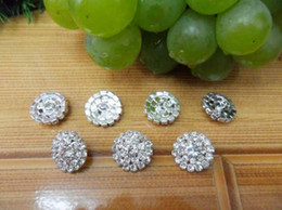 Wholesale Trial order mm Bling Button Alloy Metal Diamond Buttons Round Rhinestone Girls hair accessories