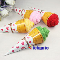 Wholesale Artificial Ice Cream Cone Roll Square Towel Cake cotton Wedding Birthday Favors Home Decoration