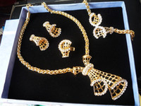 Wholesale HA143 Fashion Jewelry Sets Golden Hollow Bow Inlaid Zircon Luxury Alloy jewelry sets