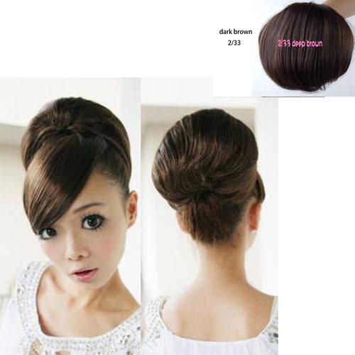 Bride Hair Bun Dark Brown Extensions Synthetic