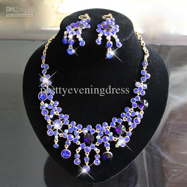 Royal blue elegant two pieces shiningtiaras hair for Bridesmaid jewelry sets under 20