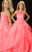Wholesale Cute A Line One Shoulder Ruffles Sequin Beads Layered Skirt Sweep Cupcake Princess Pageant Ball Gown Size Flower Girl Dress