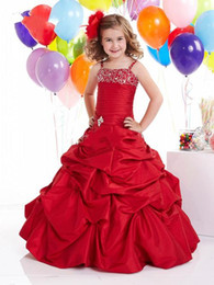Hot Recommend Red Spaghetti Flower Girl Dresses  Wedding Dresses   Prom Gown (Custom-made) A 4190