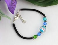 12PCS SkyBlue Lampwork Glass Round Velvet Bracelets #21747