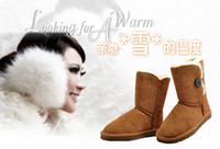 Wholesale cheap woolen snow boots Classic Leather snowboot fashion women shoes for Winter Black Gray Chocolate