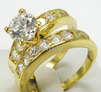 Wholesale 2pcs lovers womens mens K yellow gold filled wedding rings ct clear white gemstone ring new