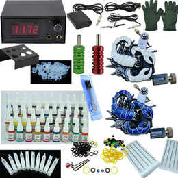 Wholesale Complete Beginner Tattoo Kit Set tattoo Kit Machines Guns colors inks LCD Tattoo Power