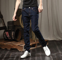 Wholesale New Korean Men Jeans Casual Jeans Straight jeans Slim jeans Washed jeans Navy blue