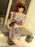 Wholesale Hot New Women s Sexy Retro floral color package hip Slim shoulder pads Mini Dress Women s Clothing