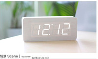 Wholesale Modern White light Wooden wood USB AAA LED Digital Alarm Clock VOICE