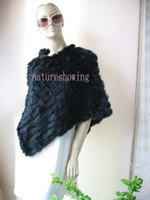 Wholesale women s Wonderful real rabbit fur knitted poncho cloak stole Pashmina shawl cape scarf black