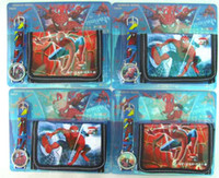 Wholesale pc Cartoon Spiderman Watches and Wallet Sets with Gift Box Popular Gift