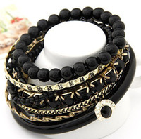 Cheap 12 set Retro fashion bangles black bead wood cat eye bead multi-storey big bracelet bracelets bangle