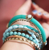 Cheap 12 set Retro fashion bangles Turquoise wood cat eye bead multi-storey big bracelet bracelets bangle