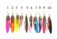 Wholesale COLOURFUL NATIVE INDIAN THEME FEATHER EARRINGS