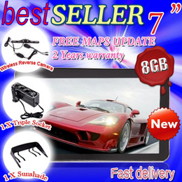 Wholesale NEW quot HD CAR GPS NAVIGATION GB LED WIRELESS REVERSE CAMERA Blutooh AV IN D free map DHL free