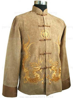 Wholesale Chinese Chicken skin Double dragon Men s Kung fu jacket coat Size M L XL XXL XXXL yellow