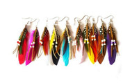 Wholesale COLOURFUL NATIVE INDIAN THEME FEATHER EARRINGS colors