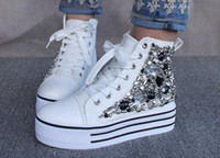 Black Women Flat Heel Rhinestone platform shoes muffin high-top shoes, single shoes, women shoes, casual shoes with wedge