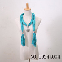Wholesale Handmade Fashion Cotton Scarf jewelry Alloy Heart Pendant Soft neck Scarf Ladies Designer Scarfs
