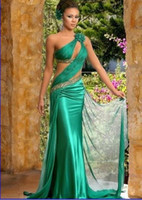 Model Pictures indian dress - Green Indian One Shouldder Prom Evening Dress Bridesmaid Gown Party Dress Formal Dress Homecoming Quinceanera Dresses Cocktail Indian Gowns