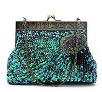 Wholesale PEACOCK Sequin Beaded HANDMADE CLUTCH HANDBAG Evening fashion bag CM