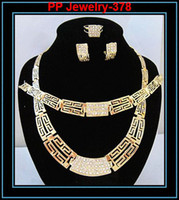 Wholesale Sparkle Rhinestone Crystal Gold Plated African Lace Costume Jewelry Set Girls Wedding Necklace