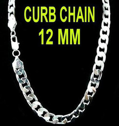 5pcs Bold Men's 925 Sterling Silver Necklace 12MM Flat Men's Chains Fashion Necklace Silver Jewelry 22inch 56cm Hot