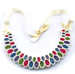 Shinny Crystal Choker Bib Necklace Cocktail Silk Ribbon Chain New 3 Colors black white colorful