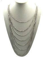 Wholesale Bohemian Multi Strands Link Chain Necklace hot sale New Women s Silver Tone Metal