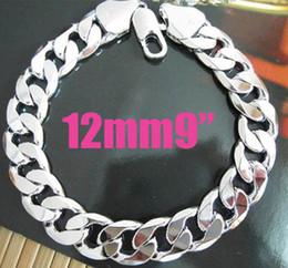 """20pcs Fashion Silver Men's Bracelet 925 Silver 12mm 9"""" Curb Chain Bracelet Long Clasp Hot"""