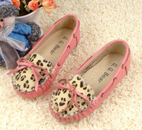 Wholesale First layer cowhide Girl Shoes Horsehair Leopard Leather Footwear Handmade threading Flats