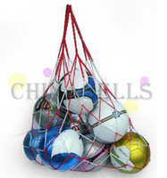 Wholesale free ship white red reticular cord sporting basketball mesh bag Ball net Bag soccer ball net bag