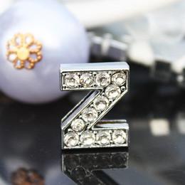 Wholesale - 50pcs lot 10mm Z Full Rhinestones Bling Slide Letters Fit For 10mm DIY Bracelet Pet Collar 0052
