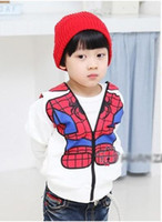 Wholesale 2012 autumn outfit boy girl who zip clothing spider man coat zipper sweater