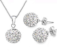 Wholesale Hot Sale Silver mm Crystal Disco Ball Necklace Fit quot O quot Chains Necklace Stud Set sets