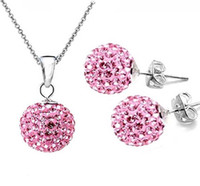 Earrings & Necklace pink jewelry - Nice Gift sets Silver Light Pink mm Disco Ball Crystal Necklace With Stud jewelry set