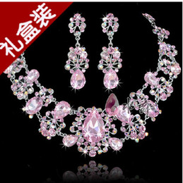 Wholesale Pink Bridal Necklace Earring Set Rhinestone Party Jewelrys Bridal Wedding Accessories AA