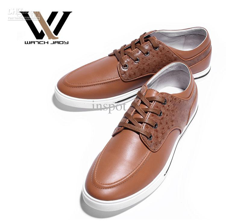 Men's Casual Shoes Fashion Dressy Cowskin Leather Lace Up Low Top ...