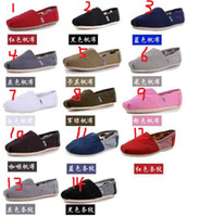 Wholesale Men and women tom casual canvas shoes EVA flat pattern stripes lovers shoes