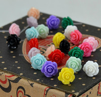 Wholesale Free Ship Pairs Mixed Korea Candy Color Rose Shape Stud Earrings Jewelry Sweet Stud