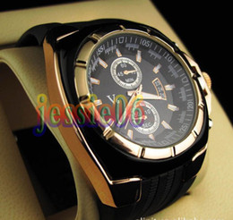 Wholesale Unisex V6 Quartz Gold Plated Metallic watch Dial Rubber Men Gent Officer Sport Casual Cuff Watches